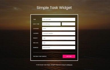 Simple Task Widget Responsive Widget Template