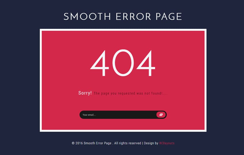 Smooth Error Page Flat Responsive Widget Template Mobile website template Free