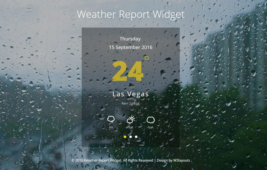 Weather Report Widget Flat Responsive Widget Template Mobile website template Free