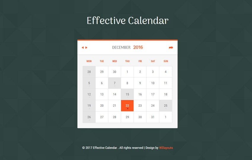 Effective Calendar Flat Responsive Widget Template