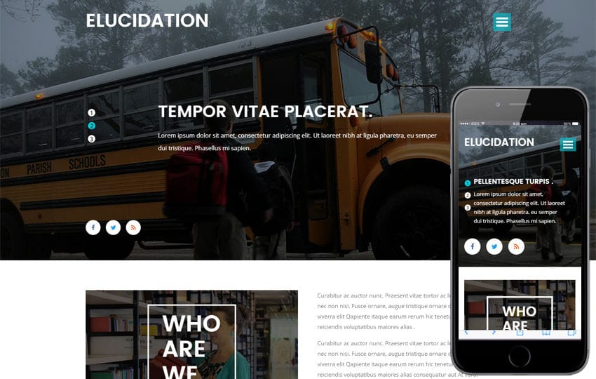 Elucidation an Education School Flat Bootstrap Responsive Template Mobile website template Free