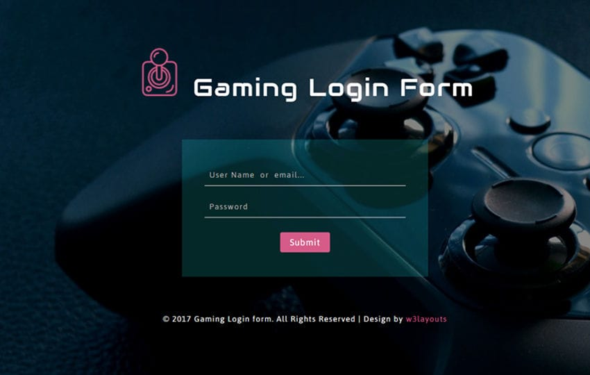 Gaming Login Form Responsive Widget Template Mobile website template Free