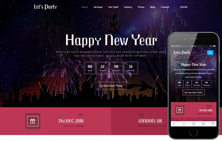 Lets Party an Entertainment Category Bootstrap Responsive web Template Mobile website template Free