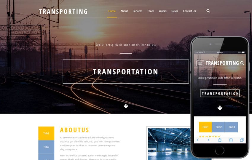 Transporting an industrial Category Flat Bootstrap Responsive Web Template Mobile website template Free