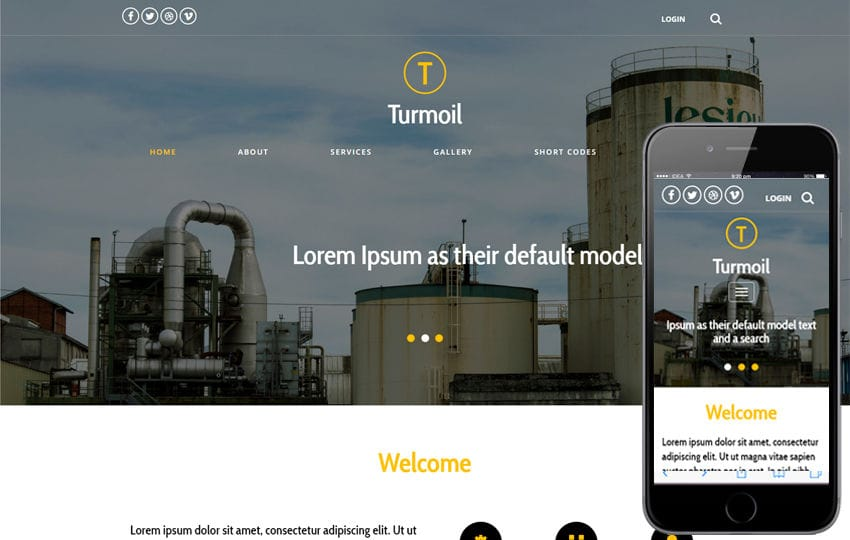 Turmoil an Industrial Category Flat Bootstrap Responsive Web Template Mobile website template Free