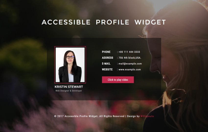 Accessible Profile Widget a Responsive Widget Template