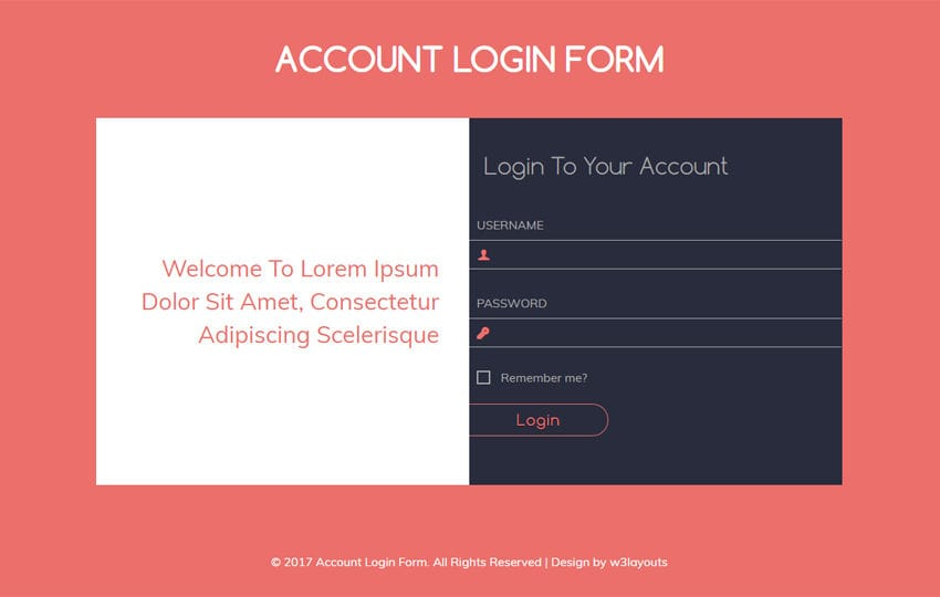 Account Login Form Flat Responsive widget Template