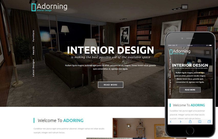 Adorning an Interior and Furniture Category Bootstrap Responsive Web Template