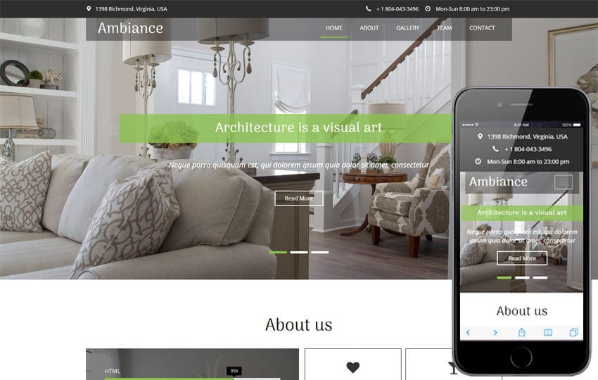 Ambiance an Interior and Furniture Category Flat Bootstrap Responsive Web Template