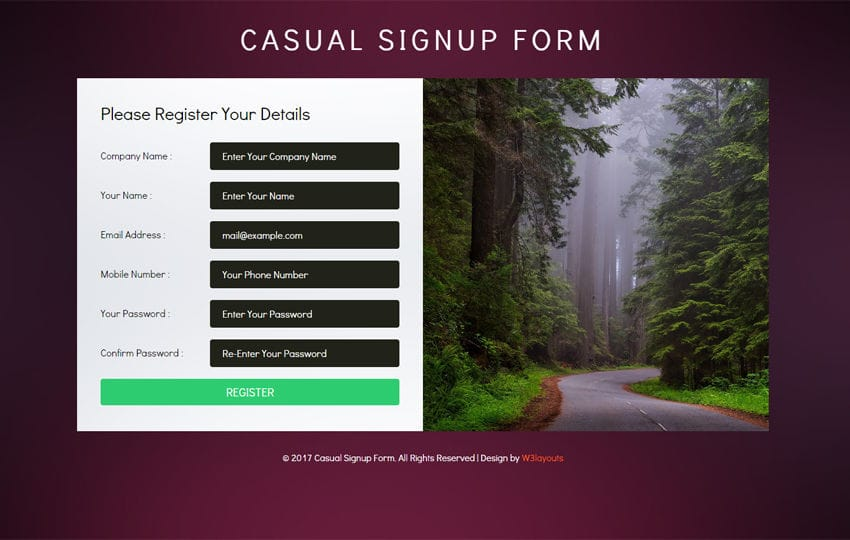 Casual Signup Form Flat Responsive Widget Template