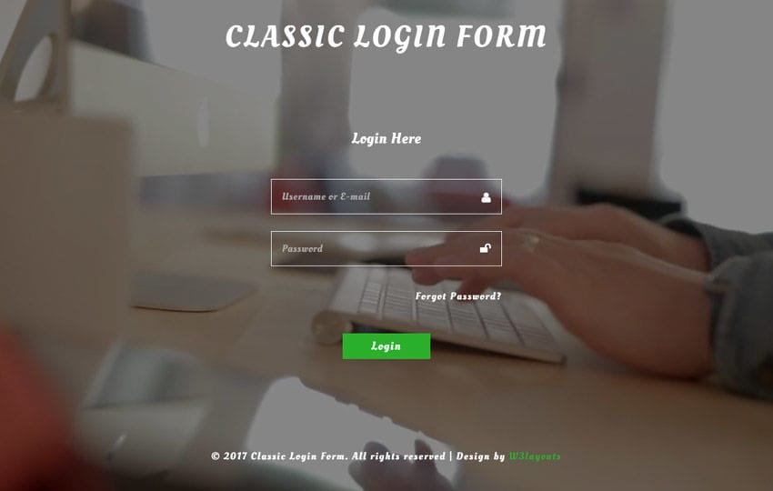 Classic Login Form a Flat Responsive Widget Template Mobile website template Free
