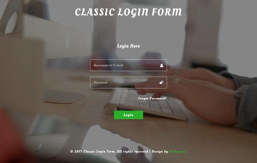 Classic Login Form a Flat Responsive Widget Template