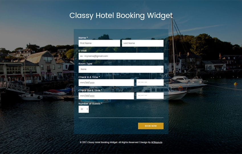 Classy Hotel Booking Widget Flat Responsive Widget Template