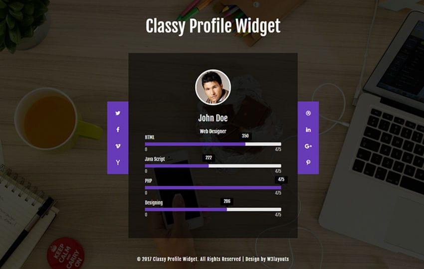 Classy Profile Widget a Flat Responsive Widget Template