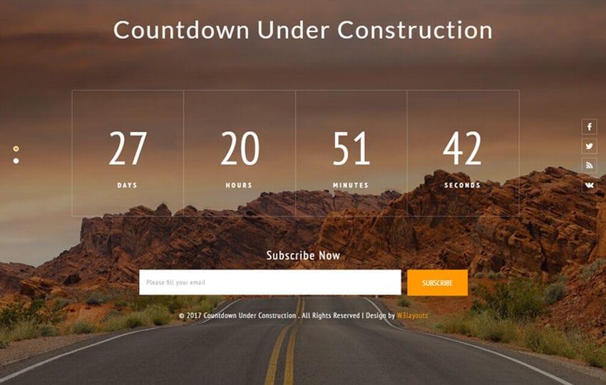 Countdown Under Construction Flat Responsive Widget Template