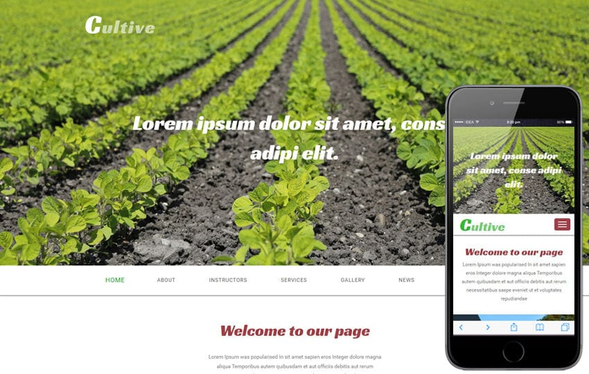 Cultive an Agriculture Category Flat Bootstrap Responsive Web Template Mobile website template Free