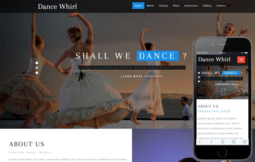 Dance Whirl an Entertainment Category Bootstrap Responsive Web Template