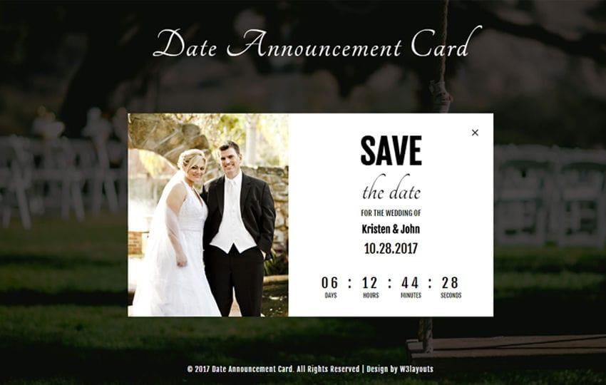 Date Announcement Card a Flat Responsive Widget Template