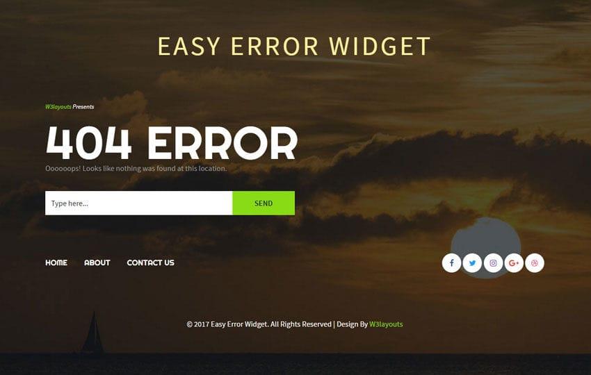 Easy Error Widget Flat Responsive Widget Template