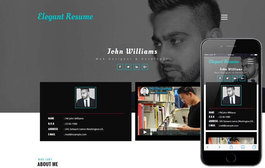 Elegant Resume a Personal Category Flat Bootstrap Responsive Web Template Mobile website template Free