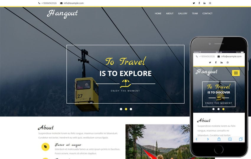 Hangout a Travel Category Flat Bootstrap Responsive Web Template Mobile website template Free