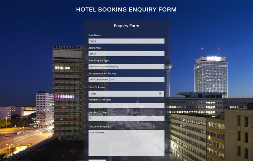 Hotel Booking Enquiry Form Widget a Flat Responsive Widget Template