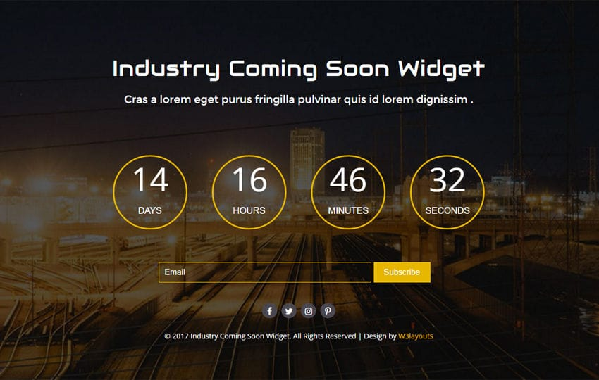 Industry Coming Soon Widget Flat Responsive Widget Template Mobile website template Free