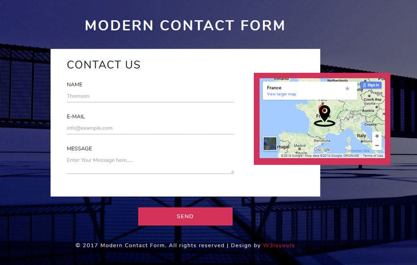 Modern Contact Form Responsive Widget Template