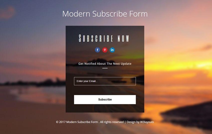 Modern Subscribe Form a Flat Responsive Widget Template