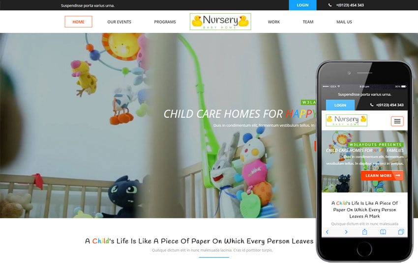 Nursery a Society and People Category Flat Bootstrap Responsive Web Template Mobile website template Free