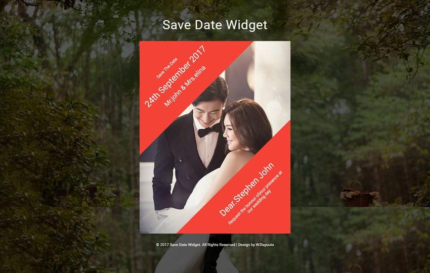 Save Date Widget Flat Responsive Widget Template