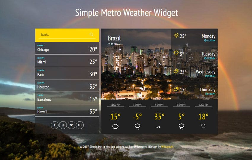 Simple Metro Weather Widget Flat Responsive Widget Template