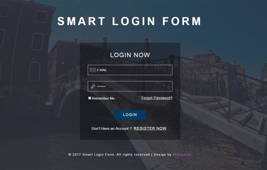 Smart Login Form Responsive Widget Template