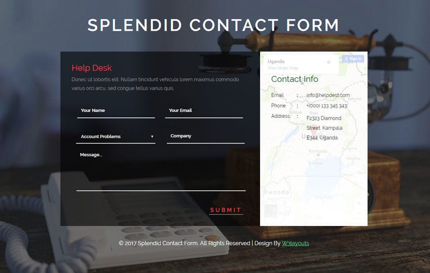 Splendid Contact Form Flat Responsive Widget Template