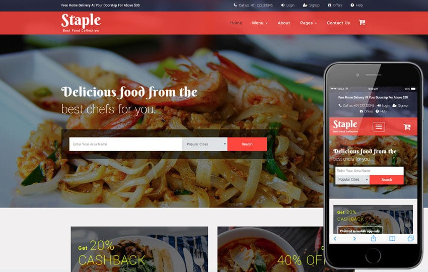 Staple Food a Restaurants Category Bootstrap Responsive Web Template