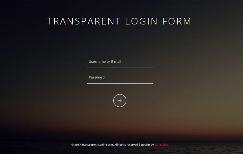 Transparent Login Form Responsive Widget Template - W3layouts