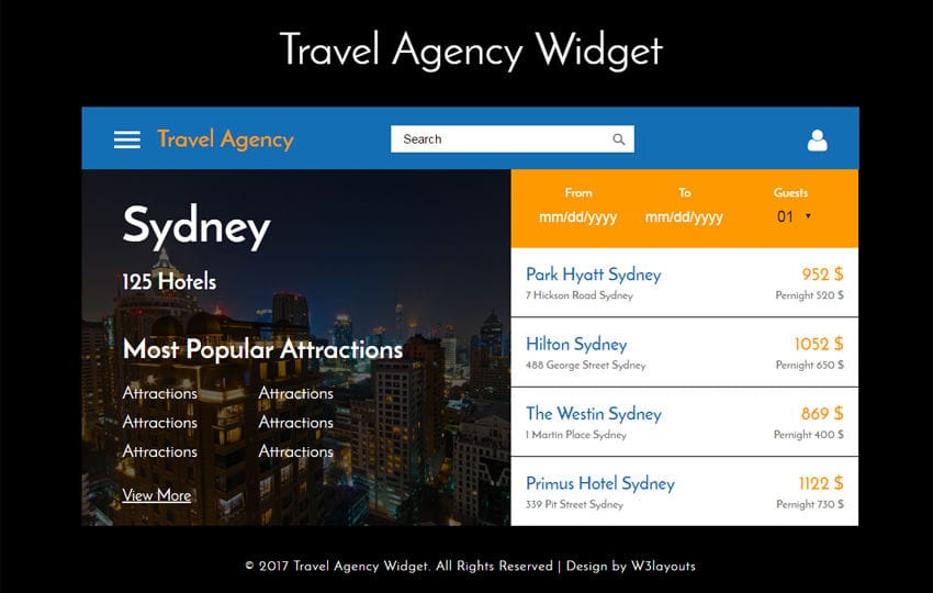 Travel Agency Widget a Flat Responsive Widget Template Mobile website template Free