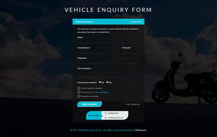 Vehicle Enquiry Form a Flat Responsive Widget Template