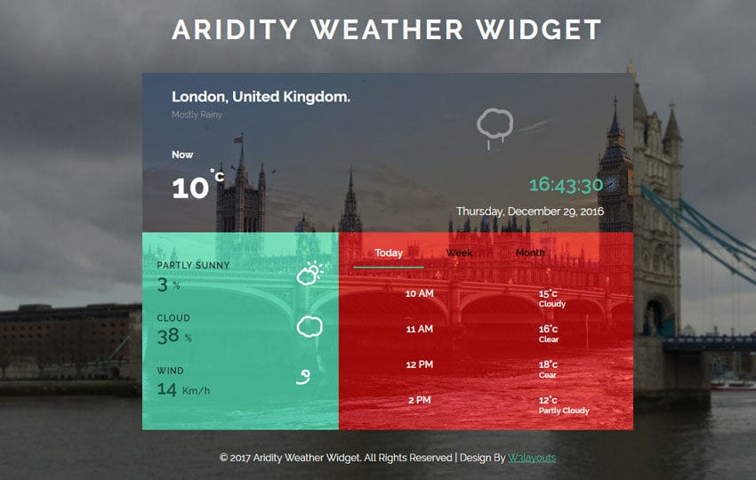 Aridity Weather Widget Flat Responsive Widget Template Mobile website template Free