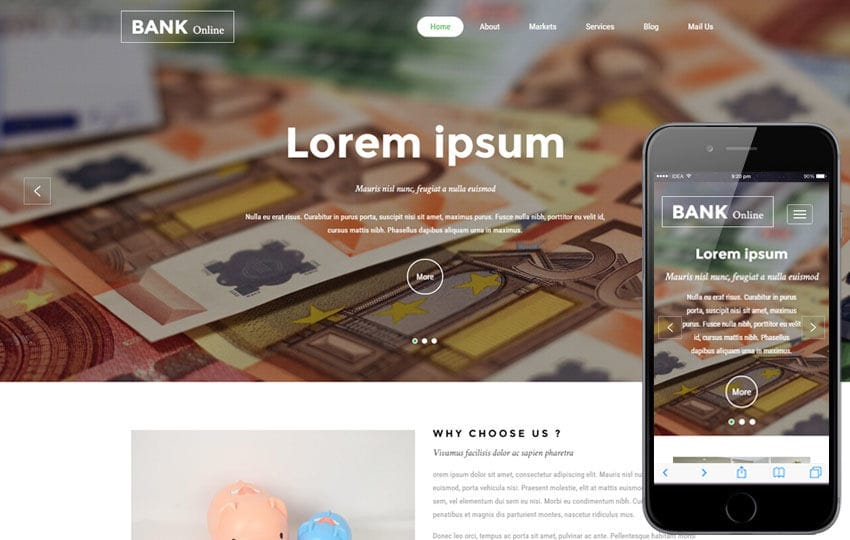 Bank Online a Banking Category Bootstrap Responsive Web Template Mobile website template Free