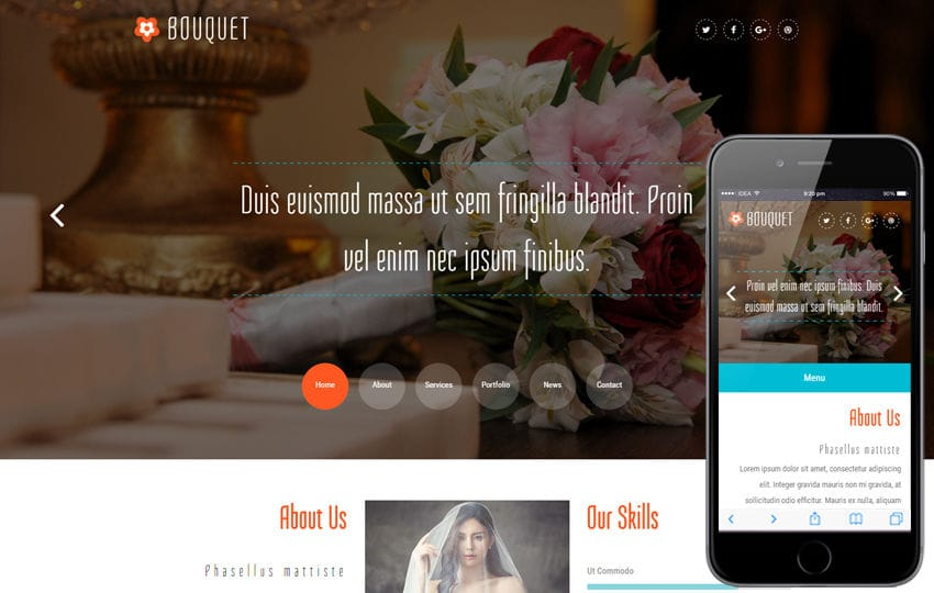 Bouquet a Wedding Category Bootstrap Responsive Web Template Mobile website template Free