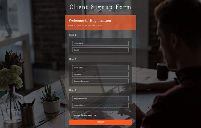 Client Signup Form Flat Responsive Widget Template