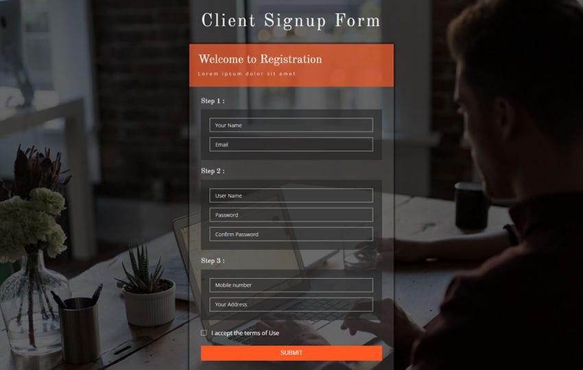 Client Signup Form Flat Responsive Widget Template