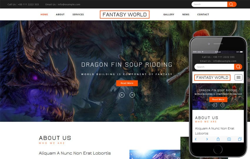 Fantasy World a Games Flat Bootstrap Responsive Web Template Mobile website template Free