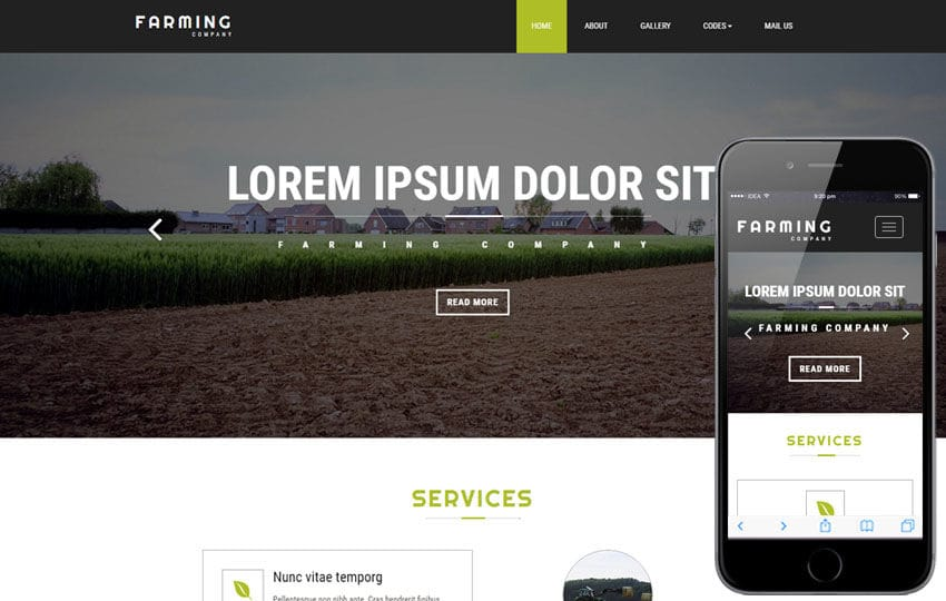 Farming Company an Agriculture Flat Bootstrap Responsive Web Template Mobile website template Free