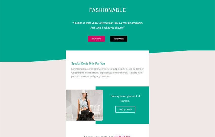Fashionable a Newsletter Responsive Email Template Mobile website template Free