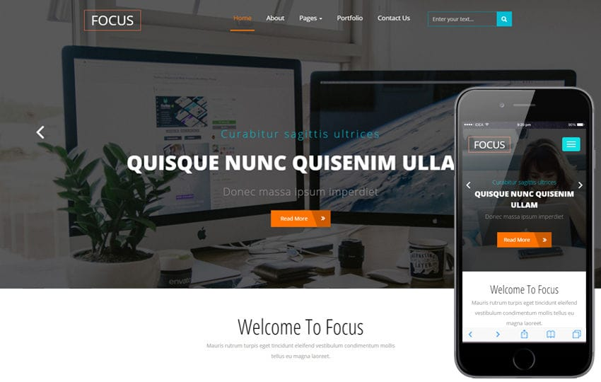 Focus a Corporate Category Flat Bootstrap Responsive Web Template Mobile website template Free