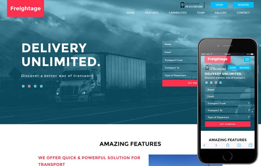 Freightage a Transportation Flat Bootstrap Responsive Web Template Mobile website template Free