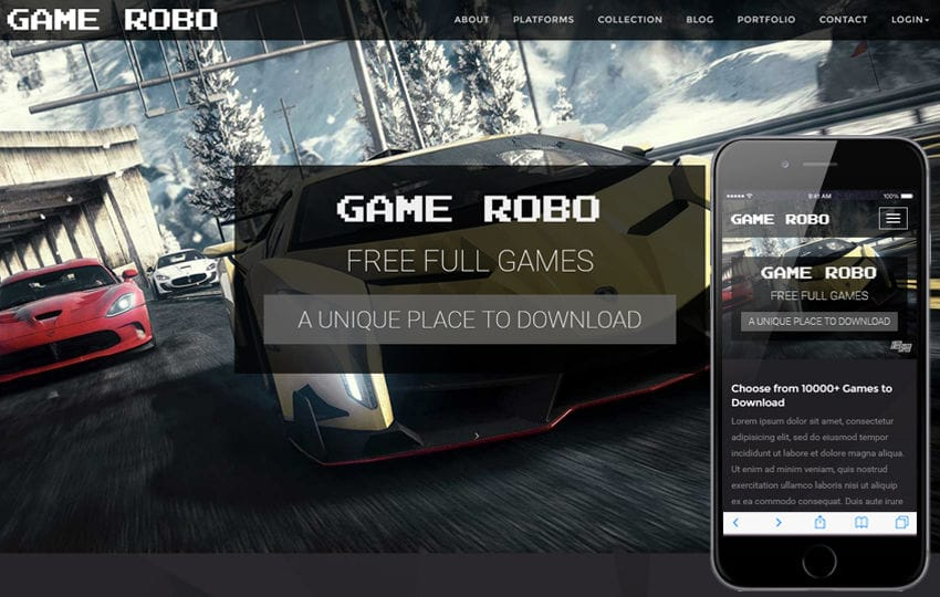 Game Robo a Games Category Bootstrap Responsive Web Template Mobile website template Free