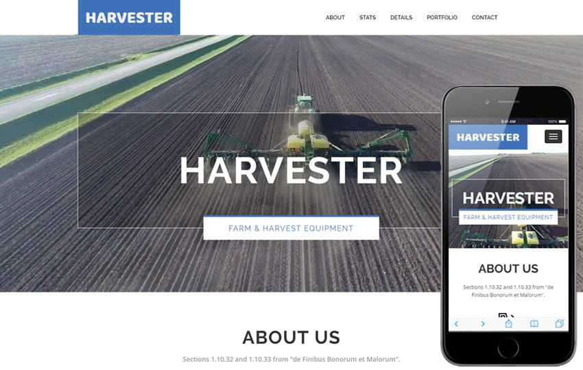Harvester a Agriculture Category Flat Bootstrap Responsive Web Template Mobile website template Free